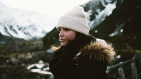 Outdoor portrait of woman in mountains Stock Images