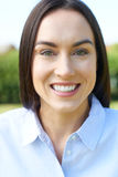 Outdoor Portrait Of Woman With Perfect Teeth And Beautiful Smile Stock Photo