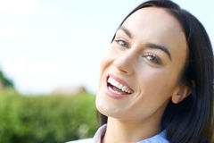 Outdoor Portrait Of Woman With Perfect Teeth And Beautiful Smile Royalty Free Stock Photos