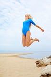 Blonde girl on beach Royalty Free Stock Image