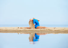 Girl training on beach Royalty Free Stock Images