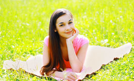 Outdoor portrait young beautiful happy woman resting Royalty Free Stock Photo