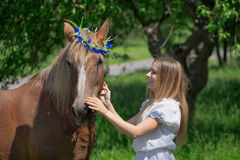 Outdoor portrait of young beautiful woman with horse.  Stock Photography