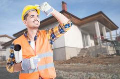 Outdoor portrait of young builder Royalty Free Stock Photo