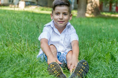 Outdoor portrait of young child boy Royalty Free Stock Photography