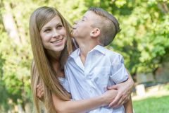 Outdoor portrait of young child boy with his mother Stock Photography