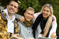 Outdoor portrait of young companionship smiling Stock Photos