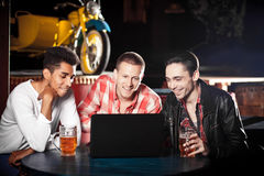 Outdoor portrait of young entrepreneurs working at coffee bar Royalty Free Stock Image