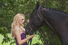 Outdoor portrait of a young girl and horse Stock Photos