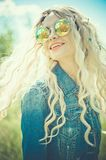 Outdoor portrait of young hippie woman Royalty Free Stock Images