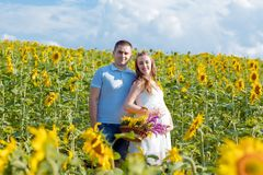 Outdoor portrait of young pregnant couple in sunflowers field on a bright Sunny day. Authentic lifestyle image stock photos