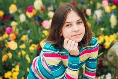 Outdoor portrait of young preteen girl. Outdoor portrait of young preteen 12 year old girl Stock Image