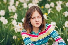 Outdoor portrait of young preteen girl. Outdoor portrait of young preteen 12 year old girl Stock Photo