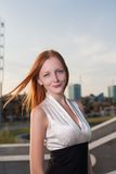 Outdoor portrait of young pretty women with ginger Royalty Free Stock Photography
