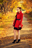 Outdoor portrait of young redheaded woman in autumn forest. Wearing red coat and black belt royalty free stock images