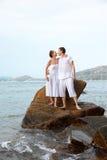 Romantic couple at beach Stock Image