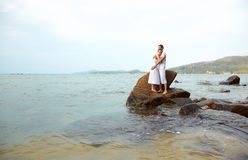 Romantic couple at beach Stock Photography