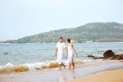 Romantic couple at beach Stock Photography