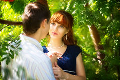 Outdoor portrait of young sensual couple. Love and kiss. Summer Stock Photography