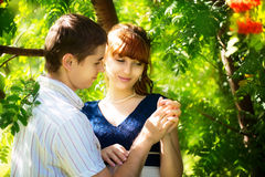 Outdoor portrait of young sensual couple. Love and kiss. Summer. Vacation concept Royalty Free Stock Photo