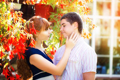Outdoor portrait of young sensual couple. Love and kiss. Summer Royalty Free Stock Photos