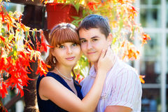 Outdoor portrait of young sensual couple. Love and kiss. Summer Royalty Free Stock Photography