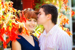 Outdoor portrait of young sensual couple. Love and kiss. Summer Royalty Free Stock Images