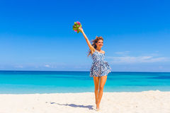Outdoor portrait of young smiling beautiful woman enjoying sunny Royalty Free Stock Photo