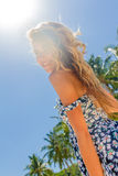 Outdoor portrait of young smiling beautiful woman enjoying sunny Stock Images