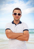Outdoor portrait of young sporty smiling Caucasian man Royalty Free Stock Photo