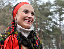 Outdoor portrait of young ukrainian woman in traditional ukraini Stock Image