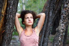 Outdoor portrait of young woman. Outdoor portrait of beautiful young woman Stock Image