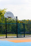 Outdoor public basketball court with synthetic plastic surface. Outdoor public basketball court with synthetic blue and orange plastic surface Royalty Free Stock Images