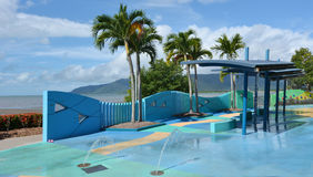 Outdoor public water park at Cairns Esplanade in Queensland Aust Stock Image