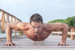 Outdoor push up workout Stock Images