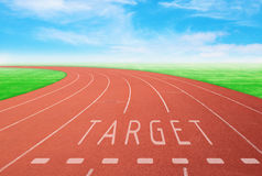 Outdoor racetrack with sign target with blue sky background Royalty Free Stock Images