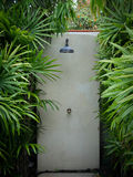 Outdoor Rain Shower in the Pool Royalty Free Stock Images