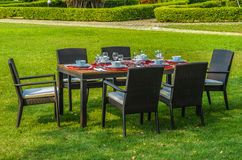 Outdoor rattan furniture, table and chairs. Water resistant outdoor rattan furniture, table and chairs Stock Image