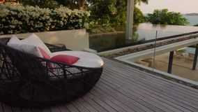 Outdoor Rattan Wicker Pation Day Bed on Luxury Terrace with Swimming Pool and Sea View