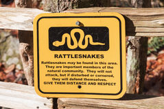 Outdoor Rattlesnake Warning Sign Stock Images
