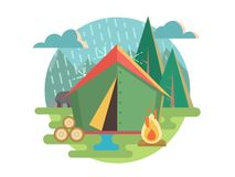 Outdoor Recreation Camping. Tent and travel, recreation and picnic, adventure tourism. Flat vector illustration royalty free illustration