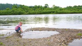 A child playing on the banks of the river, the Beautiful summer landscape. Outdoor recreation. stock video