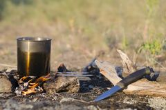 Outdoor recreation in spring. Cooking dinner on a campfire royalty free stock photo