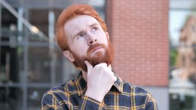 Outdoor Redhead Beard Young Man Thinking New Idea. 4k high quality, 4k high quality stock video footage
