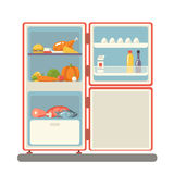 Outdoor refrigerator with food products icon Stock Images