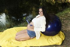 Outdoor Relax Water Lake Park Pregnant Woman Stock Photos