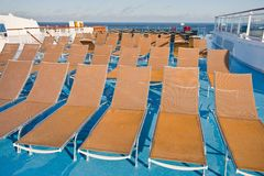 Outdoor relaxation area on cruise liner Royalty Free Stock Photography