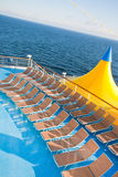 Outdoor relaxation area of cruise liner Stock Photos