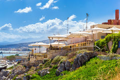 Outdoor resort cafe in Rethymno, Crete, Greece Royalty Free Stock Photography
