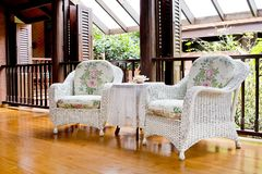 Outdoor rest area with white nice armchair sofa, Royalty Free Stock Photos